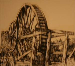 A sketch of a waterwheel at the chair factory off Crescent Street