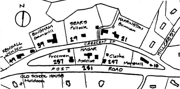A map of the Crescent Street Local Historic District