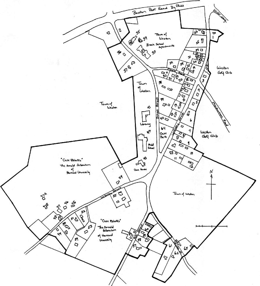 A sketch map of the Case Area within Weston