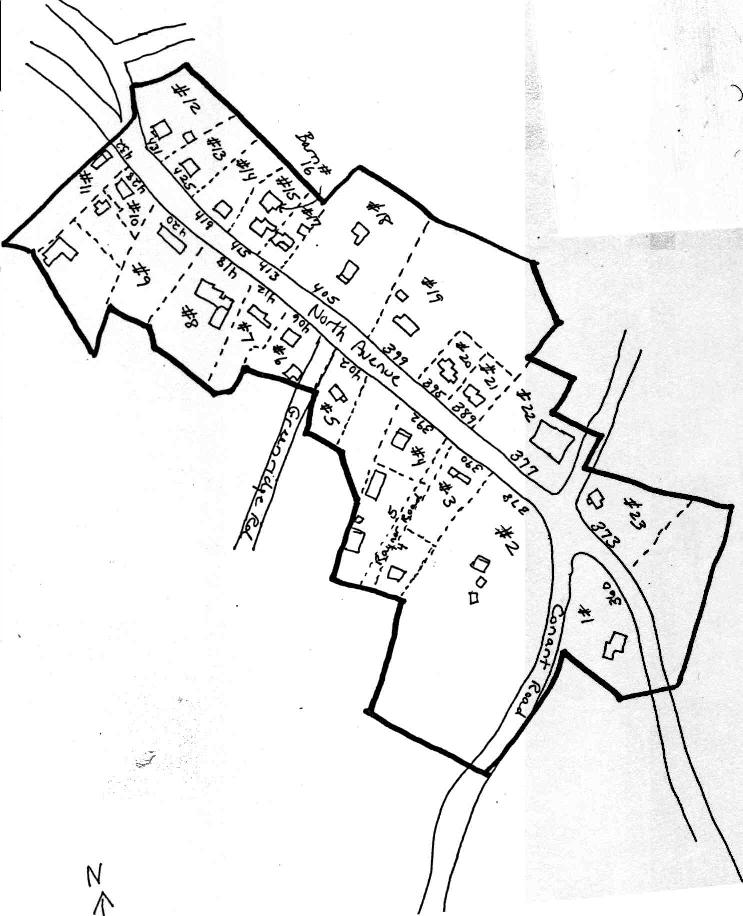 A sketch map of the North Village Area