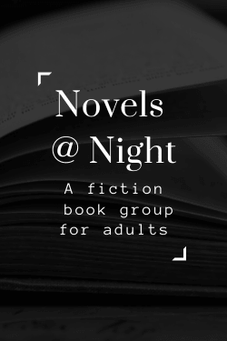 """Novels at Night"" with book background"