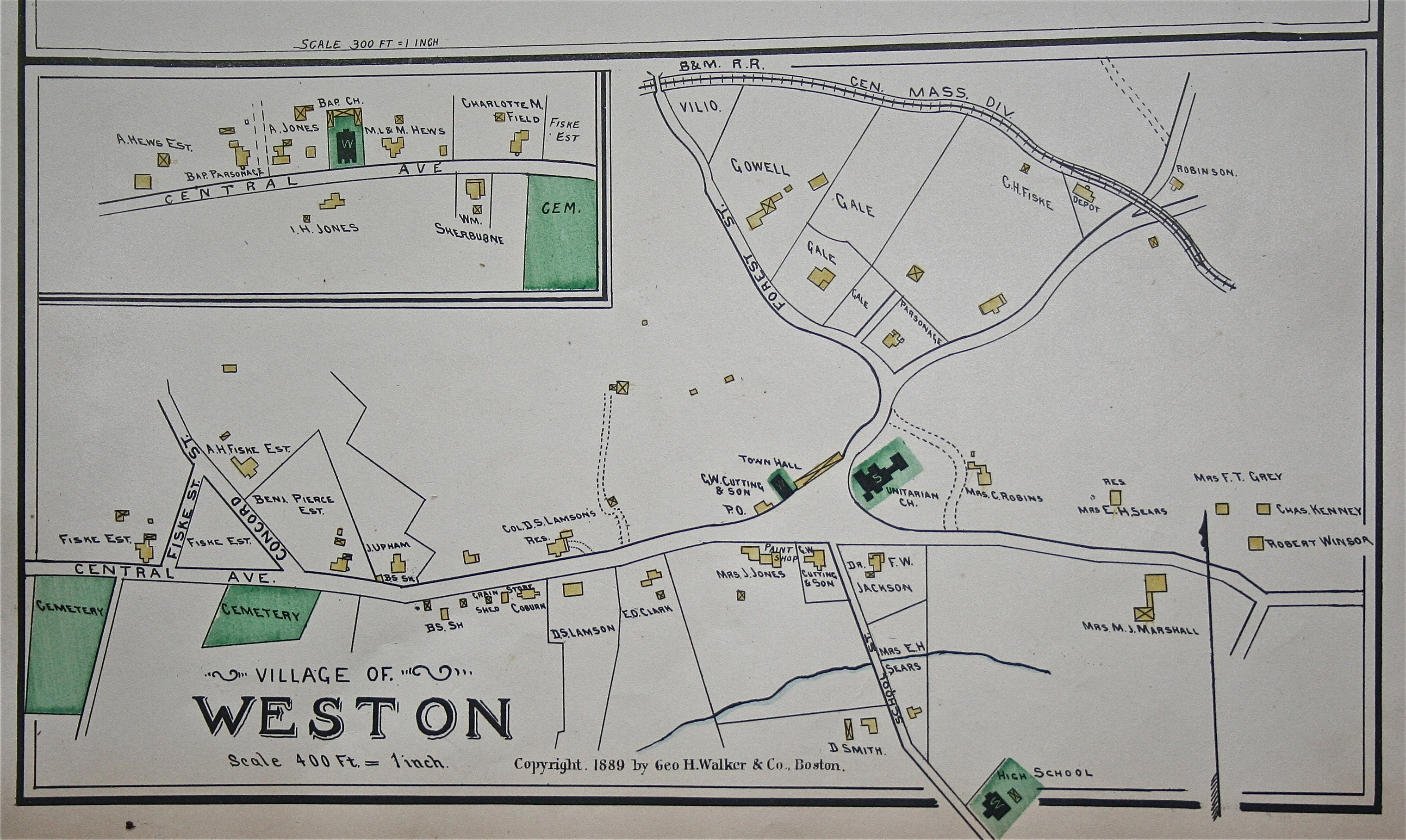 1889 Weston Map in Detail